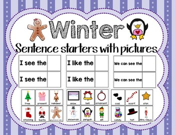 Winter Sentence Starters with Pictures
