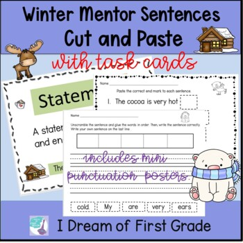 Winter Sentences - Cut and Paste Word Order and Punctuation and Task Cards