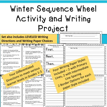 Winter Sequence Wheel Activity and Differentiated Writing Project or Center