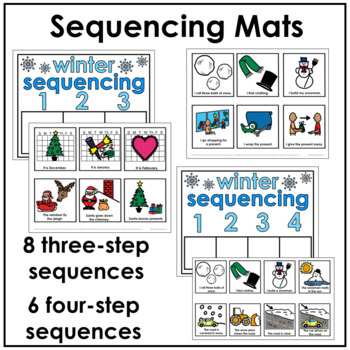 Winter Sequencing Activities (Sequencing Mats, Cut & Paste, & Drawing Pages)