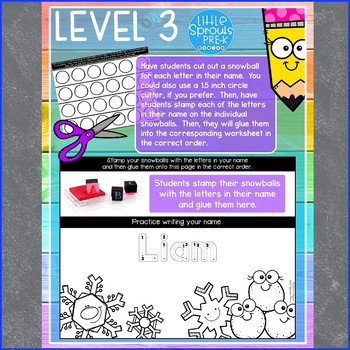 Winter Set - Easy Peasy Name Practice - Activities for PreK, Preschool, Kinder