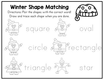 Winter Shapes Picture Matching