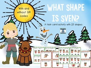 Winter Shape Task Cards (with and without QR codes)
