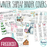 Winter Shiplap Teacher Binder Covers and Spines | Editable