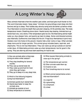 Winter Short Reading Passages