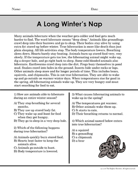 Winter Short Reading Passages