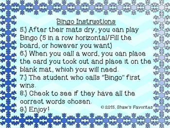Winter Short U Bingo