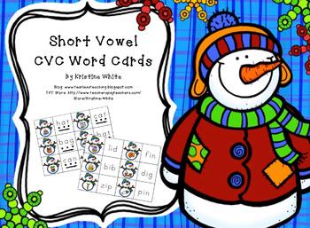 Winter Short Vowel CVC Word Cards