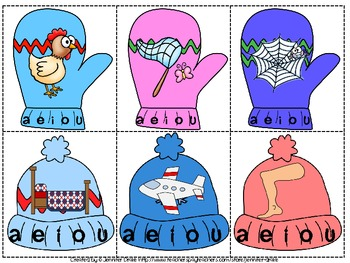 Winter Short Vowel Sound ID Clipping Cards ~72 cards~ PLUS printable!