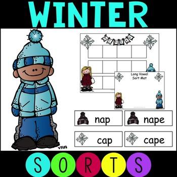 #holidaydollardeal Winter Short and Long Vowel Word Sorts