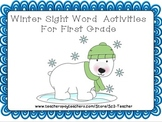 Winter Sight Word Activities for First Grade Dolch Words