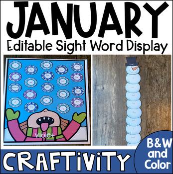 Winter Sight Word Activity Display Chart {EDITABLE}