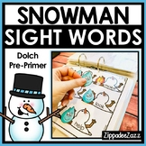 Winter Sight Word Binder Snowman Activities