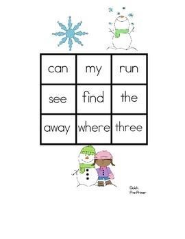 Winter Sight Word Bingo