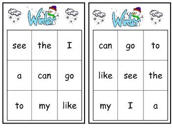Winter Sight Word Bingo Games- Set of 3 for Kindergarten