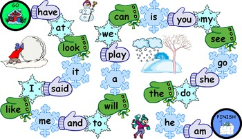 Winter Sight Word Board Games
