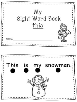 Winter Sight Word Book - This