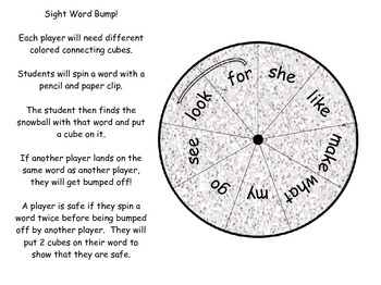 Winter Sight Word Bump FREEBIE