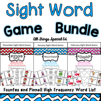 Winter Sight Word Bundle - Fountas and Pinnell Word Lists