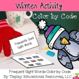 Winter Sight Words Color by Code Reading Worksheet Packet