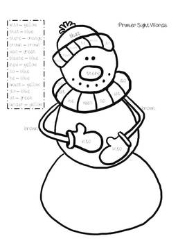 Winter Sight Word Coloring Pages by Sarah Hankinson | TpT