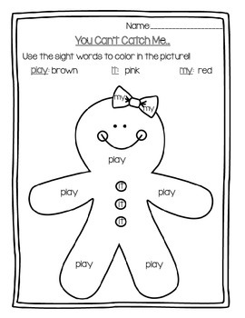 Winter (December and Jan.) Sight Word Coloring Pages:PrePrimer Daily 5 Word Work
