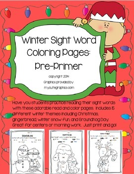 Winter (December and Jan.) Sight Word Coloring Pages:PrePr