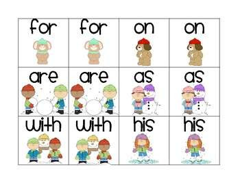 Winter Sight Word Concentration (Fry 1-25)