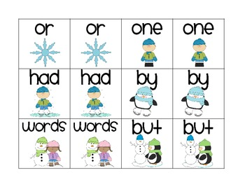 Winter Sight Word Concentration (Fry 26-50)
