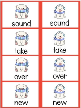 Winter Sight Word Concentration Games and Flashcards