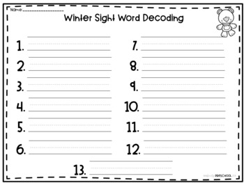Winter Sight Word Decoding {Fry's First 100}