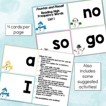Winter Sight Word Flashcards (Fountas & Pinnell list 1)