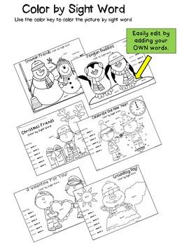 Winter Sight Word Printables {Editable!}