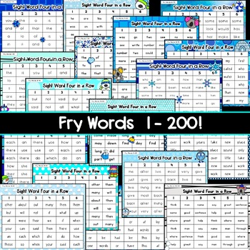 Winter Sight Words Games: Four in a Row [[Fry Words 1-200]]