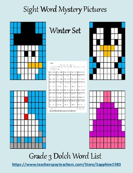 Winter Sight Word Mystery Pictures Grade 3 dolch list