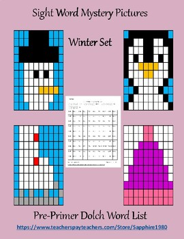 Winter Sight Word Mystery Pictures pre-primer dolch list