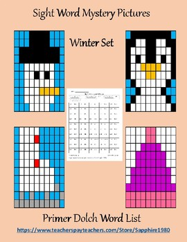 Winter Sight Word Mystery Pictures primer dolch list