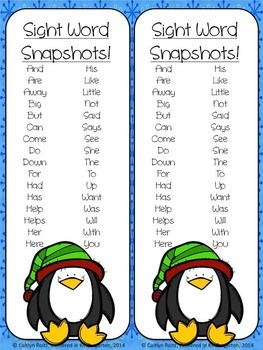 Winter Sight Word Puzzles Center