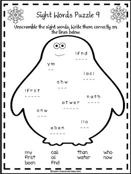 Winter Sight Word Puzzles Fry's First 100 Words