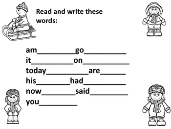 Winter Sight Word Search