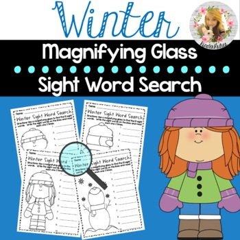 Winter Sight Word Search ( Magnifying Glass Literacy Center )