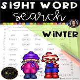 Winter Sight Word Search Worksheets