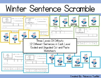 Sight Word Sentence Scramble Cards and Cut and Paste Worksheets: Winter Edition