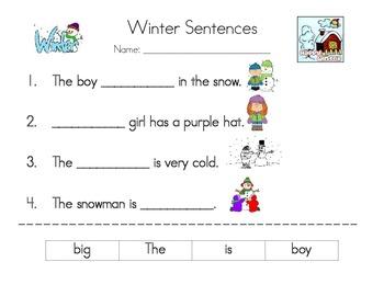 Winter Sight Word Sentences