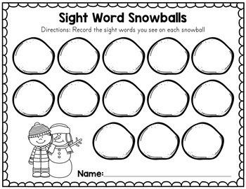 Winter Sight Word Snowballs