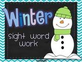 Winter Sight Word Word Work