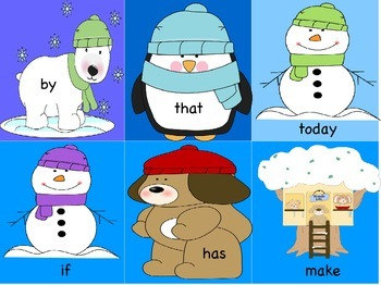 Winter Sight Word Write the Room