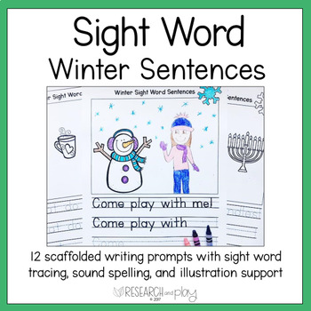 Winter Sight Word Writing Prompts Kindergarten
