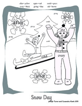 Winter Sight Words Coloring Book