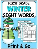 Winter Sight Words {First Grade List} Print and Go